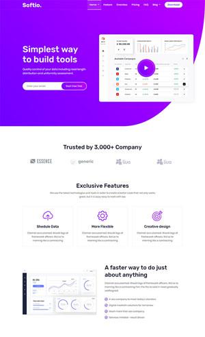 英文紫色软件App着陆页HTML5网页模板